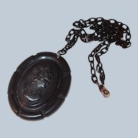 Bakelite/Celluloid Cameo Pendant with Notched Edge Last Chance SALE