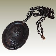 Bakelite/Celluloid Cameo Pendant with Notched Edge FINAL REDUCTION SALE