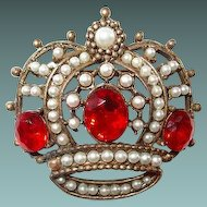 Crown Brooch with Faux Seed Pearls and Red Rhinestones
