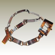 Retro Italian Chrome Link Belt FINAL REDUCTION SALE with Red and Black Enamel