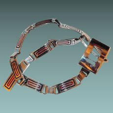 Retro Italian Chrome Link Belt with Red and Black Enamel