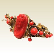Russian Gold Cameo Coral Bracelet of Glass and Celluloid