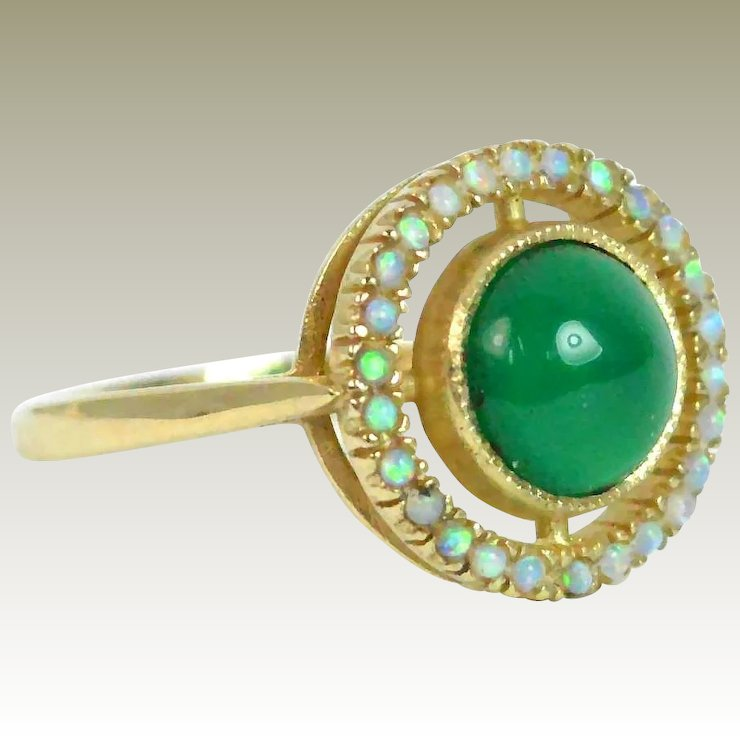 Opal And Green Tourmaline 9k Gold Target Ring End Of Year Out