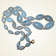 Art Deco Opal Opalescent Hand Blown Glass Bead Necklace FINAL REDUCTION SALE