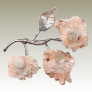 Free Form Natural Volcanic Micro Crystalline Sterling Flower Brooch