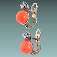 Button Coral and Paste Sterling Post Earrings