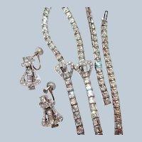 Art Deco Buckle Motif Choker Bracelet Earring Set Square Rhinestone Last Chance SALE