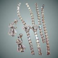 Art Deco Buckle Motif Choker Bracelet Earring Set Square Rhinestone Rhodium Plate