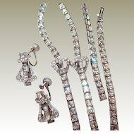 Art Deco Buckle Motif Choker Bracelet Earring  FINAL REDUCTION SALE Set Square Rhinestone Rhodium Plate
