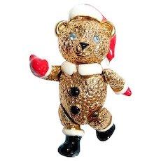 Rare Napier Articulated Santa Claus Teddy Bear Pin with Enamel Accent