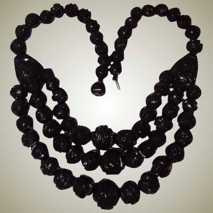 25c62464756c 1875 Whitby Antique Black Jet Three Strand Mourning Necklace
