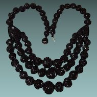 1875 Whitby Antique Black Jet Three Strand Mourning Necklace, Book Piece
