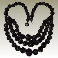 1875 Whitby Antique FINAL REDUCTION SALE Black Jet Three Strand Mourning Necklace, Book Piece