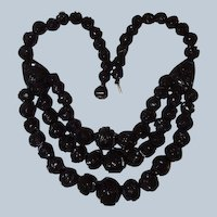 Last Chance SALE 1875 Whitby Antique Black Jet Three Strand Mourning Necklace, Book Piece
