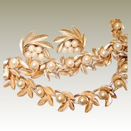 Crown Trifari 3 Piece Brushed Gold-tone Leaf Faux Pearl Set FINAL REDUCTION SALE