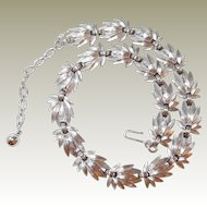 Brushed Silvertone Trifari Leaf Motif Necklace FINAL REDUCTION SALE