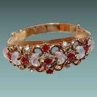 Trifari Jewelers Circular-Keystone Bracelet Moonstone Red Stone Silver Anniversary Collection 1950