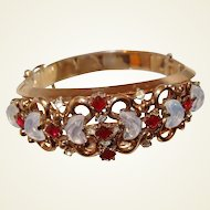 Trifari Bracelet Moonstone Red Stone Silver Anniversary Collection 1950