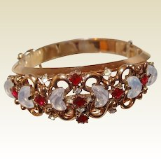Trifari Jewelers Circular-Keystone Bracelet Moonstone Red Stone Silver Anniversary Collection 1950