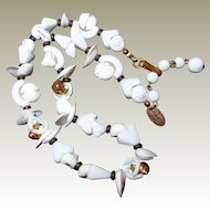 Miriam Haskell Sea Shell Necklace FINAL REDUCTION SALE Milk Glass Gold Shell Beads