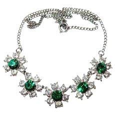 FINAL REDUCTION SALE Vintage Green Centered Rhinestone Flower Necklace
