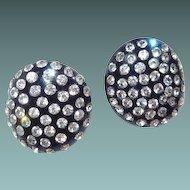 Curved Black Early Plastic Rhinestone Clip Earrings