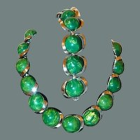 50% off Shop from Home Sale Green and Butterscotch Marbled Early Plastic Necklace Bracelet Set