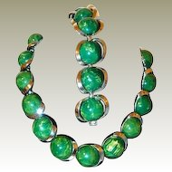 Green and Butterscotch Final Reduction SALE Marbled Early Plastic Necklace Bracelet Set