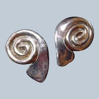 Last Chance SALE Sterling 14K Gold Modernistic Swirl Clip Earrings