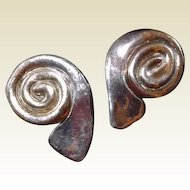 Sterling 14K Gold Modernistic Swirl Clip Earrings