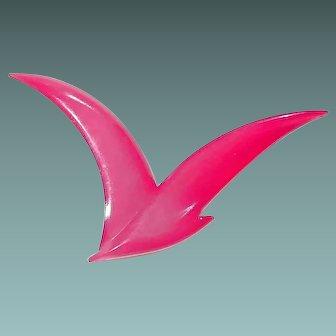 Vintage B.D. DENMARK Red Resin Seagull Bird Pin