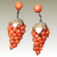 Antique Victorian Gold Gild Silver Genuine Coral Bead Grape Cluster Earrings