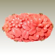 Coral Poured Glass Flower Pin Deco Period