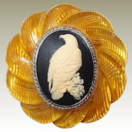 Carved Applejuice Bakelite Bird Cameo Brooch with Hawk or Eagle
