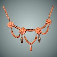 Antique Edwardian Salmon Coral Festoon Necklace Buttons Drop Bead Coral