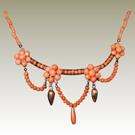 Antique Edwardian Salmon Coral Festoon Necklace FINAL REDUCTION SALE  Buttons, Drop, and Bead Coral