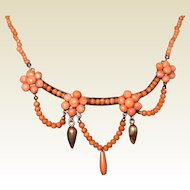 Antique Edwardian Salmon Coral Festoon Necklace with Buttons, Drop, and Bead Coral