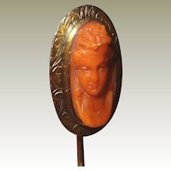 Gold Antique Coral Cameo Scarf Stick Pin FINAL REDUCTION SALE High Carved Relief
