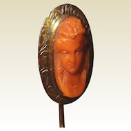 Gold Antique Coral Cameo Scarf Stick Pin High Carved Relief
