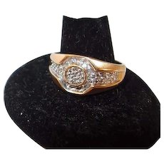 10K Diamond .25ctw Cluster Mens Ring FINAL REDUCTION SALE Size 10.5 Yellow Gold