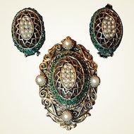 Har Pin Earring Set FINAL REDUCTION SALE Basket Weave Pearl Green Stone Mix