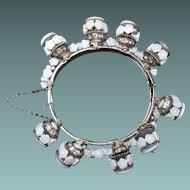 Miriam Haskell Floret Bracelet White Milk Glass Rondelle Dangles