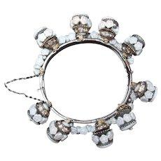 Miriam Haskell Floret Bracelet FINAL REDUCTION SALE White Milk Glass Rondelle Dangles