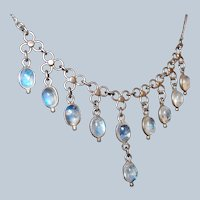 Antique Blue Moonstone Festoon Drop Necklace Sterling Setting Last Chance SALE