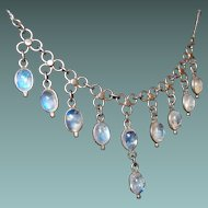 Antique Blue Moonstone Drop Necklace Sterling Setting