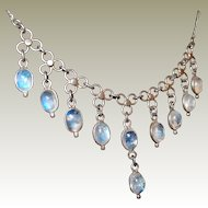 Antique Blue Moonstone Festoon Drop Necklace FINAL REDUCTION SALE Sterling Setting