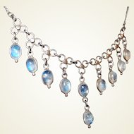 Antique Blue Moonstone Festoon Drop Necklace Sterling Setting