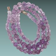 Chinese Amethyst High Quality Carved Bead Necklace