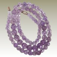 Chinese Amethyst High Quality Carved Bead Necklace FINAL REDUCTION SALE