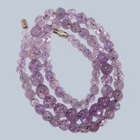 Last Chance SALE Chinese Amethyst High Quality Carved Bead Necklace